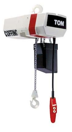 Coffing EC  Hook Mounted Electric Chain Hoist with optional container.