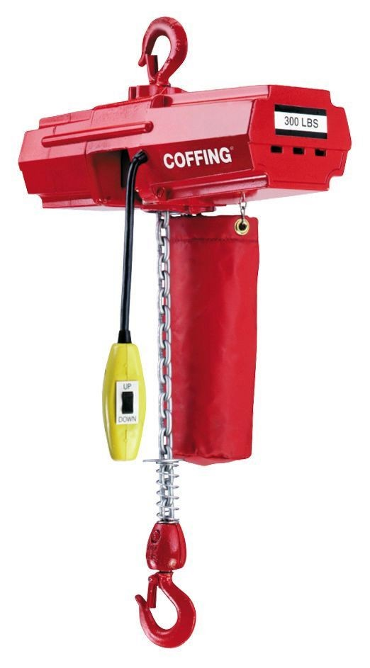 Coffing EMC Light Duty Chain Hoist 300lbs with optional chain container shown.