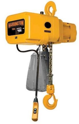 1 ton Harrington NER Electric Chain Hoist-10 ft. Lift - 14 fpm W/ Chain Container