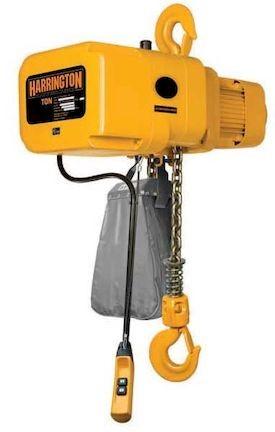 1 ton Harrington NER Electric Chain Hoist-20 ft. Lift - 28 fpm w/ Chain Container