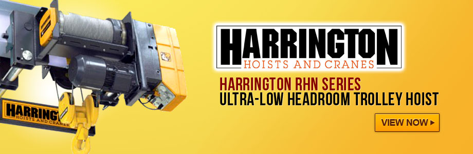 Harrington Ultra-Low Headroom Wire Rope Hoists with Free Shipping